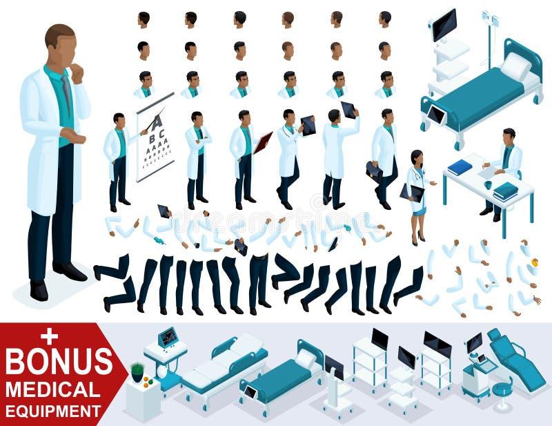 El doctor isométrico African American, crea su cirujano 3D, sistemas de gestos de piernas y de manos, emociones y peinados libre illustration