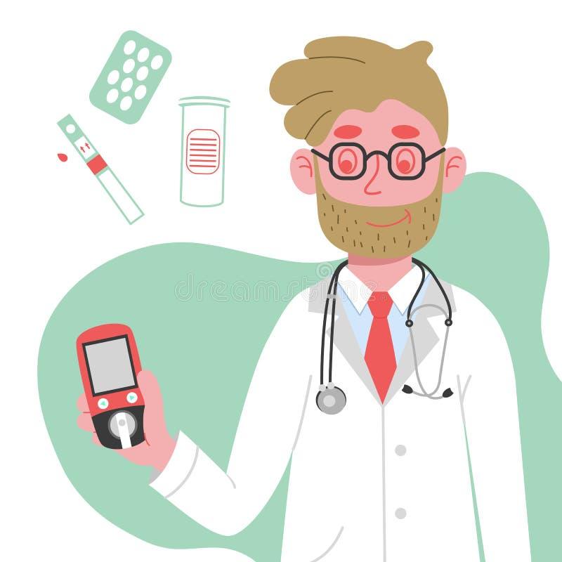 El doctor lleva a cabo un metro de la glucosa en sangre en su mano El concepto del día de diabetes Bandera del día de la diabetes imagen de archivo