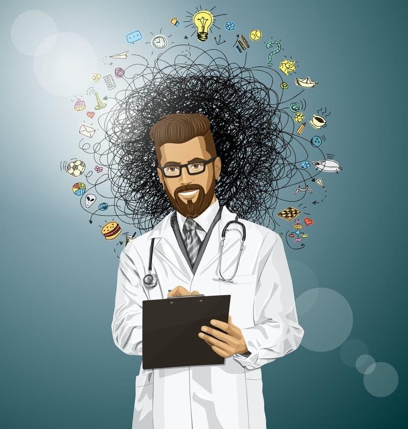 El doctor Man With Clipboard del inconformista del vector ilustración del vector