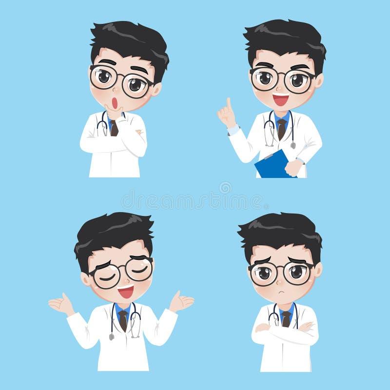 El doctor muestra una variedad de gestos y de acciones en ropa de trabajo stock de ilustración