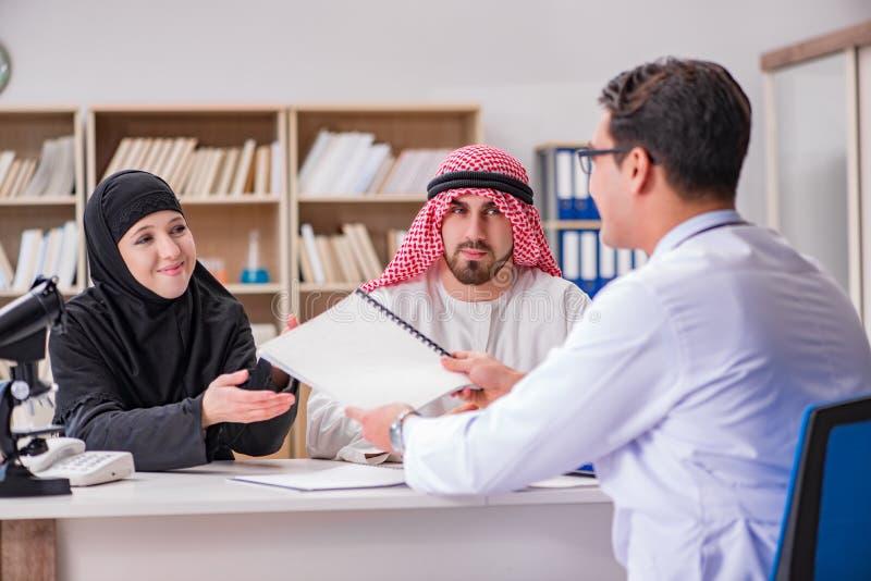 El doctor que consulta a la familia árabe en el hospital fotografía de archivo libre de regalías