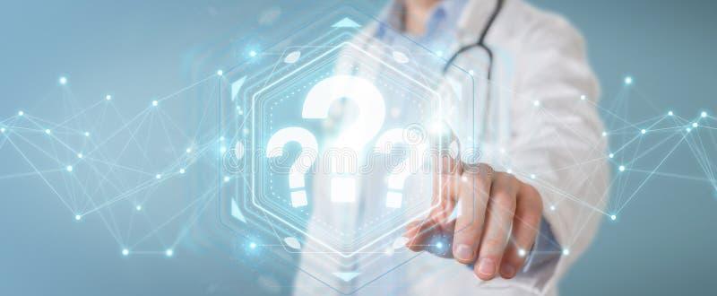 El doctor que usa signos de interrogación digitales interconecta la representación 3D ilustración del vector
