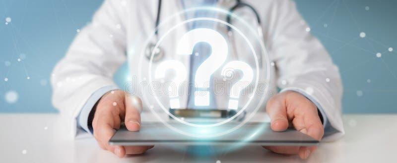 El doctor que usa signos de interrogación digitales interconecta la representación 3D libre illustration