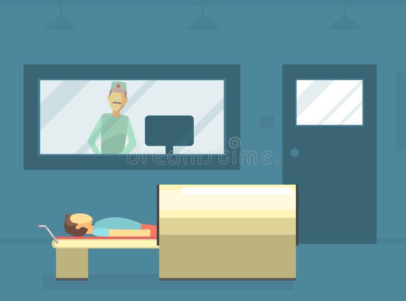 El doctor Scanning Male Patient con la máquina del escáner en clínica médica, la exploración de MRI y el ejemplo del vector de lo ilustración del vector