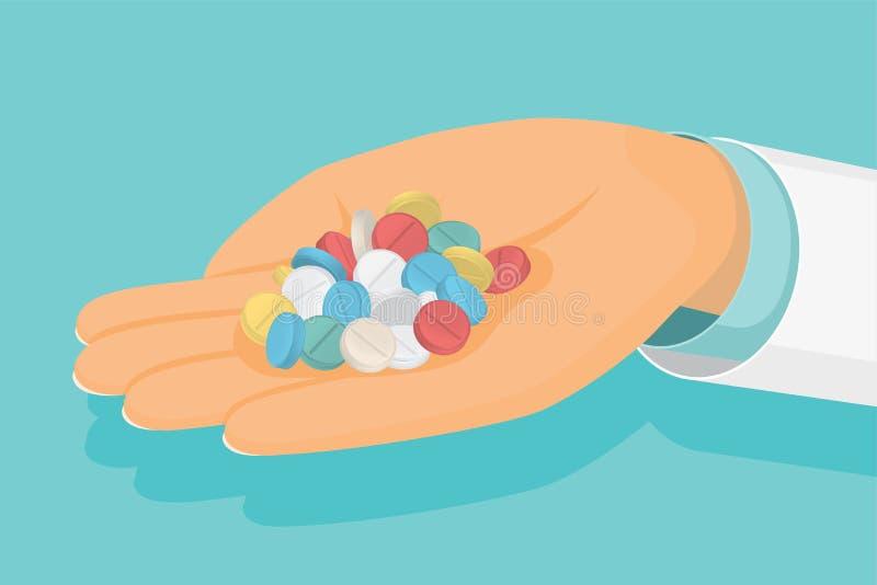El doctor sostiene un puñado de píldoras disponible Atención sanitaria médica libre illustration