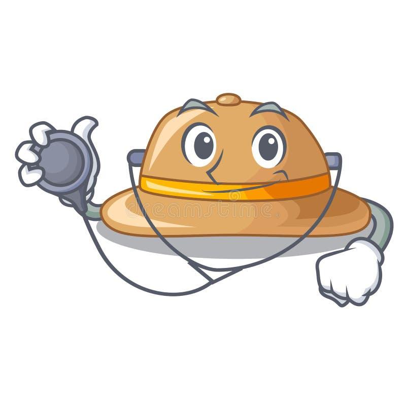 El doctor tapa el sombrero con corcho aislado en la mascota ilustración del vector