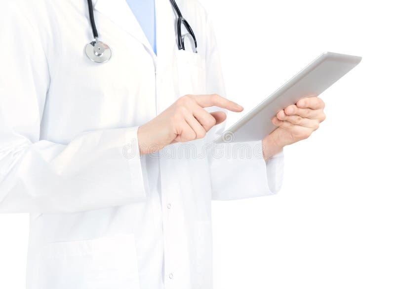 El doctor Touching On Apple iPad2 imagen de archivo