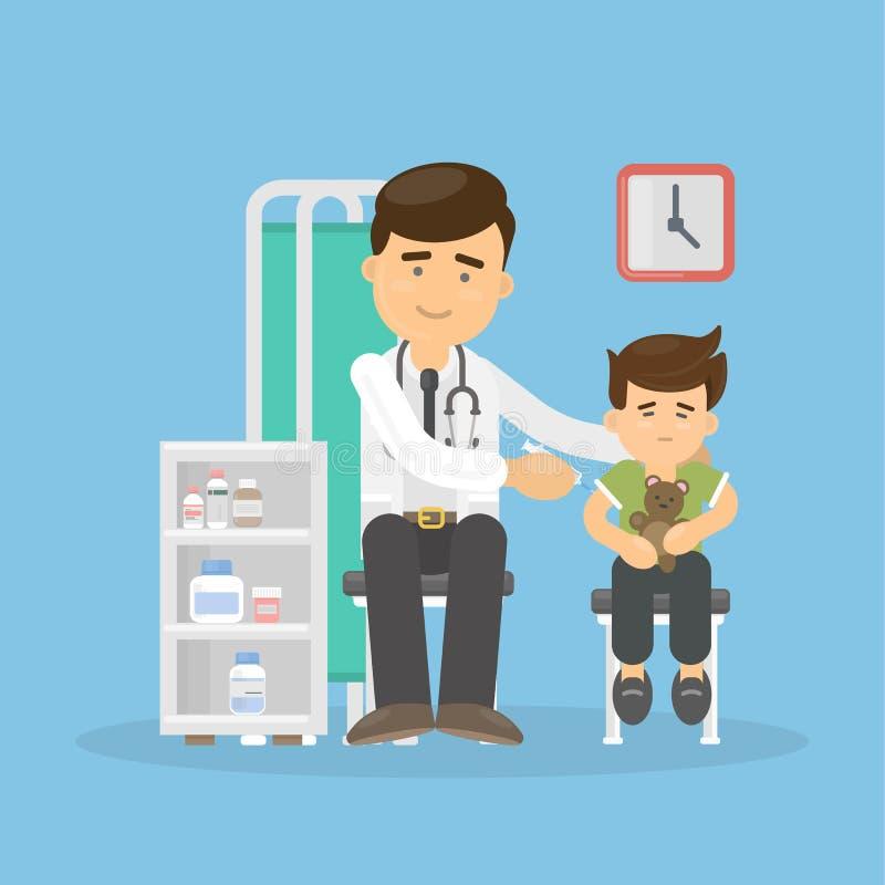 El doctor vacuna al muchacho stock de ilustración