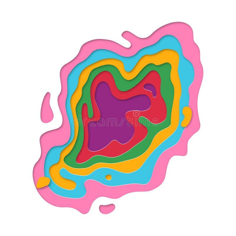 el documento de información de la textura de las capas del multicolor del papercut 3D cortó arte topográfico del vector ilustración del vector