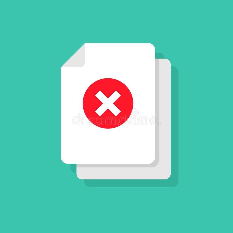 El documento y la cruz vector concepto del icono o símbolo incorrecto de la forma o del rechazo Página plana del papel doc. de la ilustración del vector