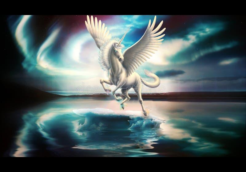 El doler artístico de Digitaces del extracto de un lago único unicorn In A con el cielo multicolor foto de archivo
