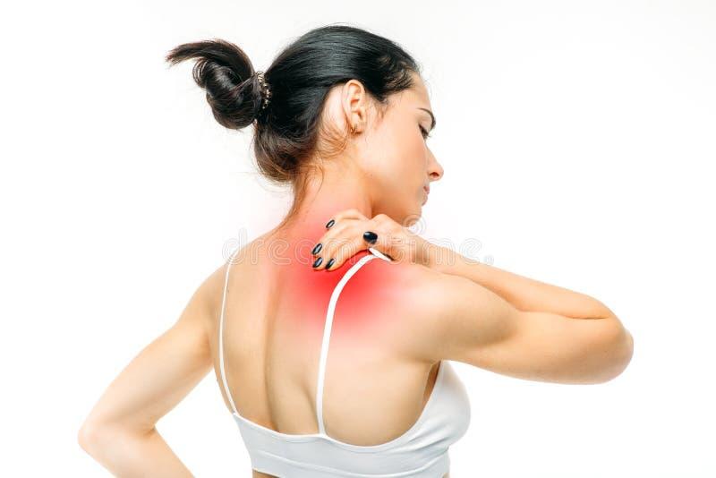 El dolor común, mujer tiene problema con el cuello imagen de archivo libre de regalías