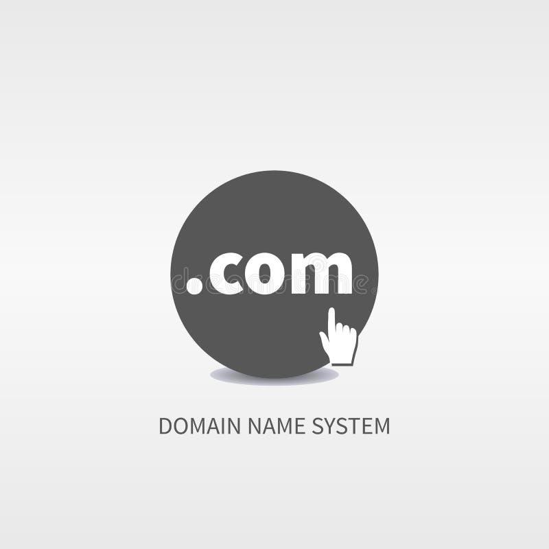 El Domain Name mantiene el logotipo del web, icono, botón stock de ilustración