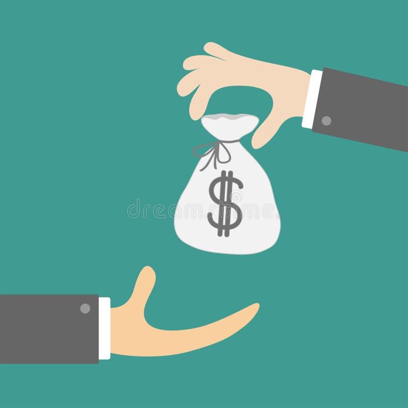El donante tomando las manos con el dinero empaqueta con la muestra de dólar Concepto de la mano amiga Estilo plano del diseño Si ilustración del vector