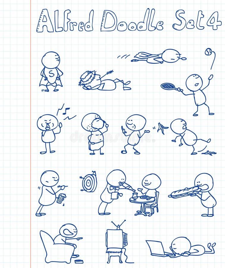 El Doodle de Alfred fijó 4 stock de ilustración