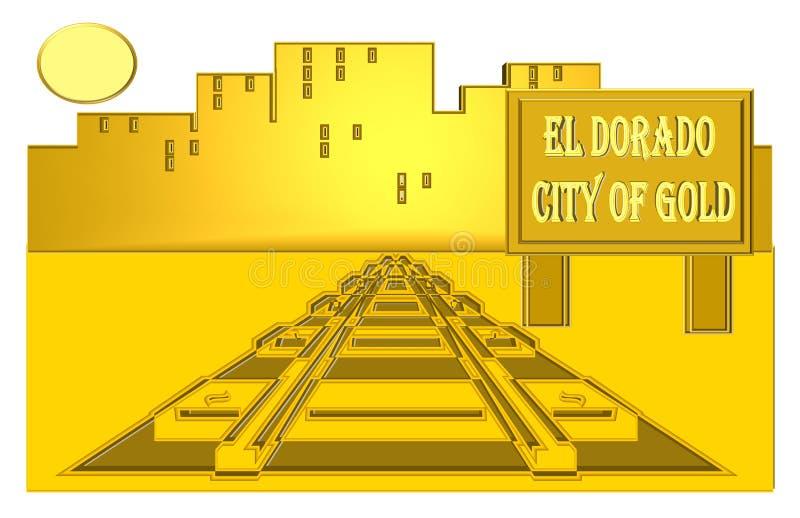 El Dorado- The city of gold stock illustration