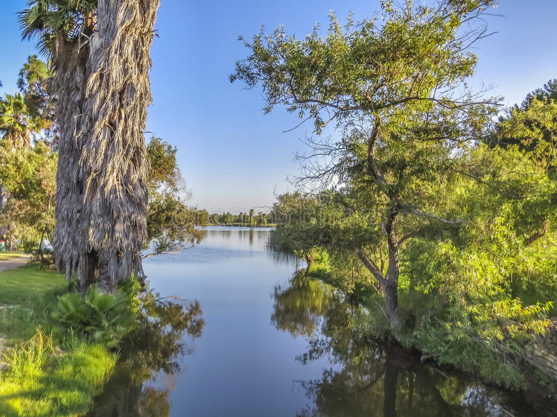 El Dorado Park Lake canal. At El Dorado East Regional Park, Long Beach, CA. USA stock image
