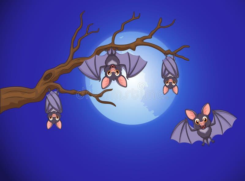 El dormir adorable y mosca de la historieta del palo en la noche con el fondo de la Luna Llena ilustración del vector