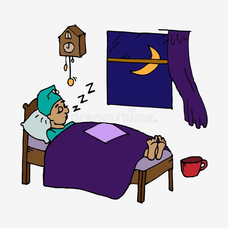 El dormir cansado del hombre stock de ilustración