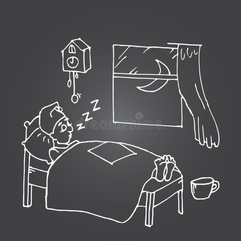 El dormir cansado del hombre libre illustration