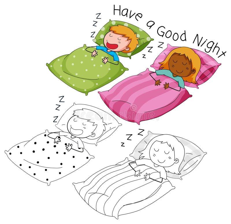 El dormir del muchacho y de la muchacha del garabato ilustración del vector