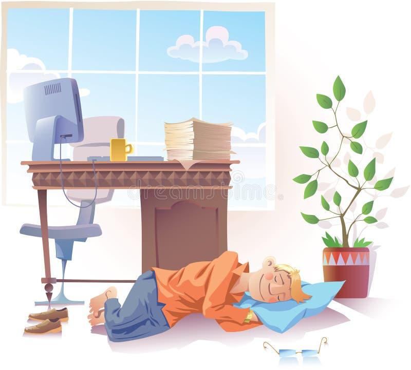El dormir en el trabajo ilustración del vector