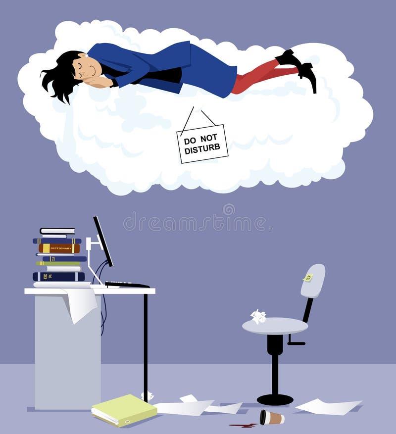 El dormir en el lugar de trabajo ilustración del vector