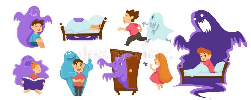 El dormir infantil del muchacho y de la muchacha del miedo de la pesadilla de los monstruos stock de ilustración