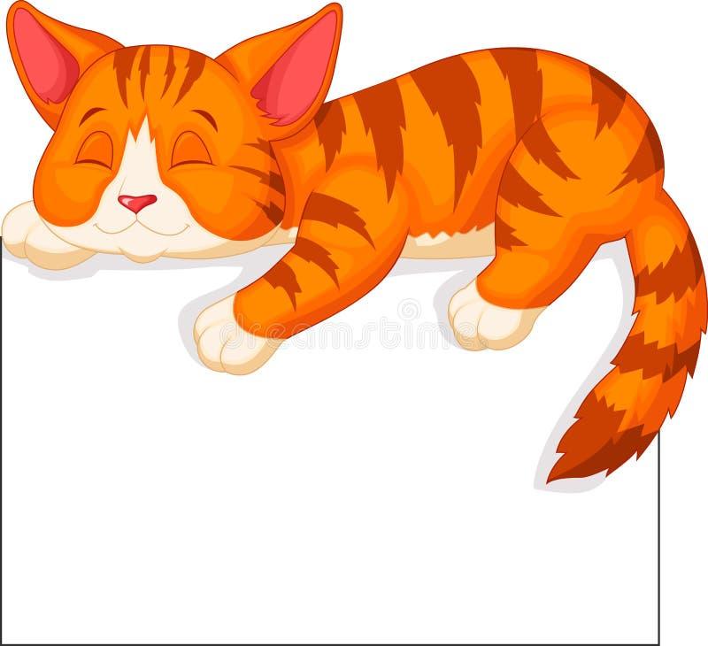 El dormir lindo de la historieta del gato ilustración del vector
