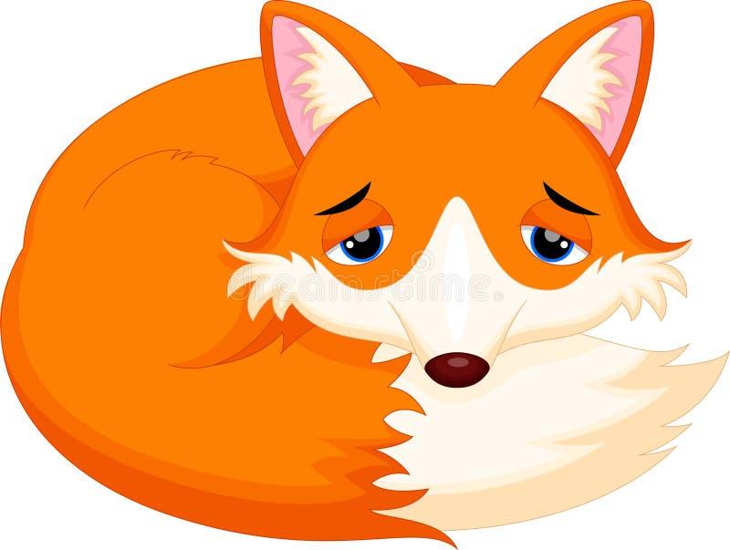 El dormir lindo de la historieta del zorro stock de ilustración
