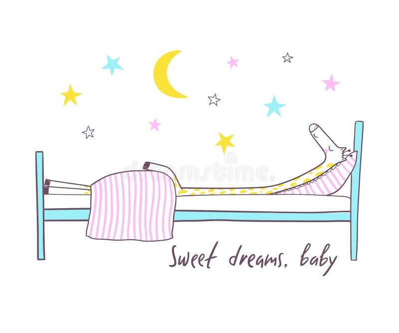 El dormir lindo de la jirafa Ejemplo del vector para los niños stock de ilustración