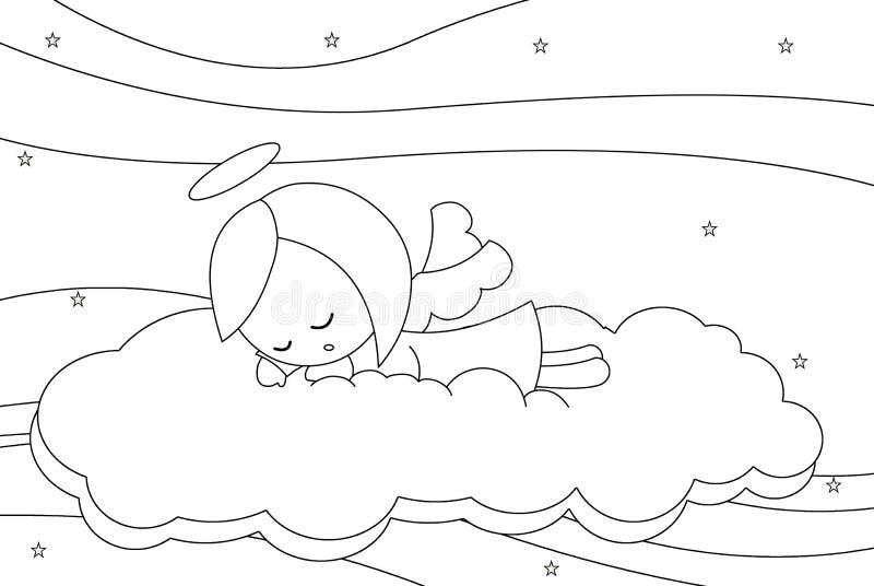 El dormir lindo poca muchacha del ángel imagen de archivo libre de regalías