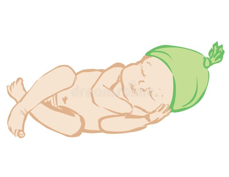 El dormir recién nacido stock de ilustración