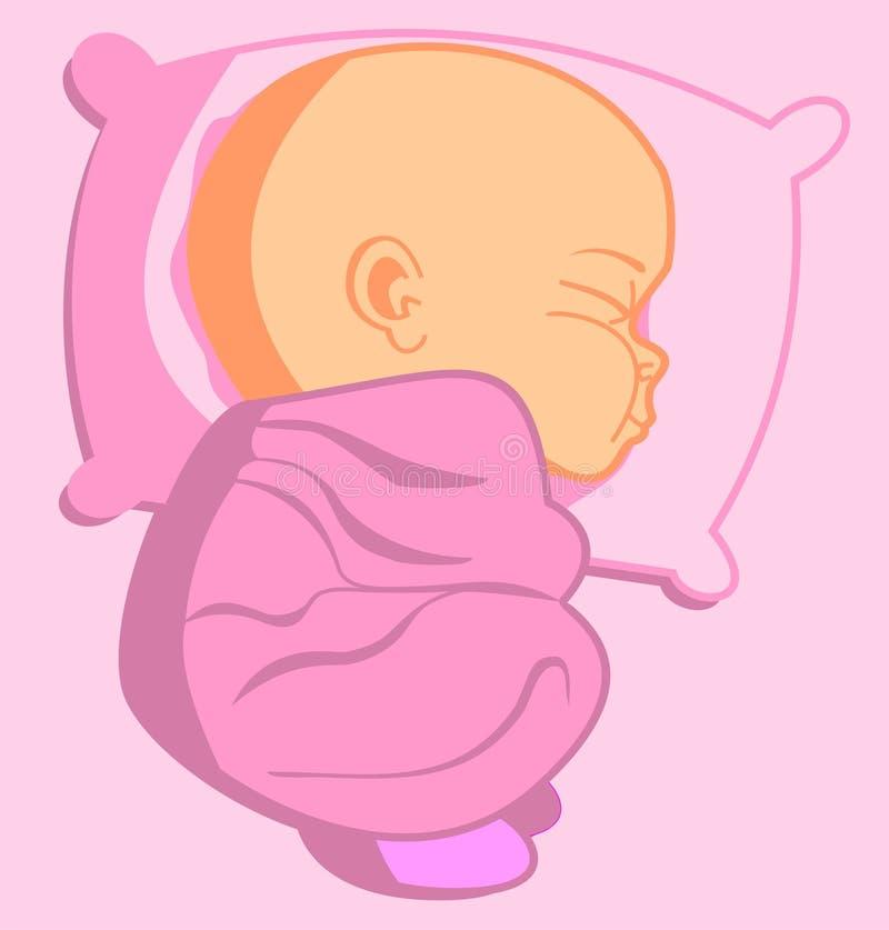El dormir recién nacido del bebé ilustración del vector