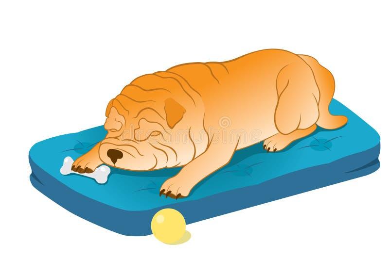 El dormir Shar-Pei chino ilustración del vector