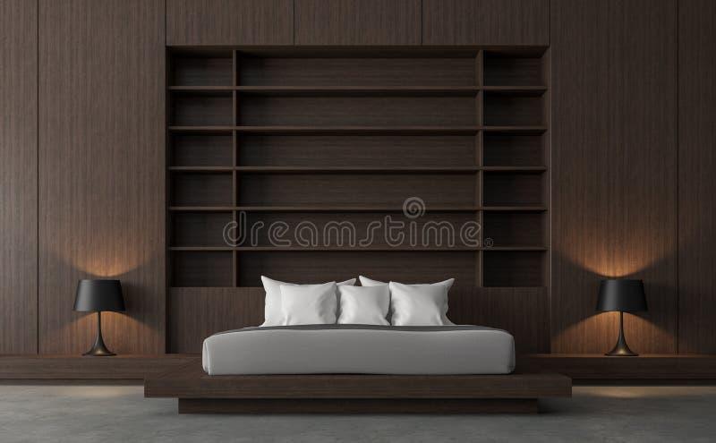 El dormitorio contemporáneo moderno del desván con la pared de madera 3d rinde libre illustration