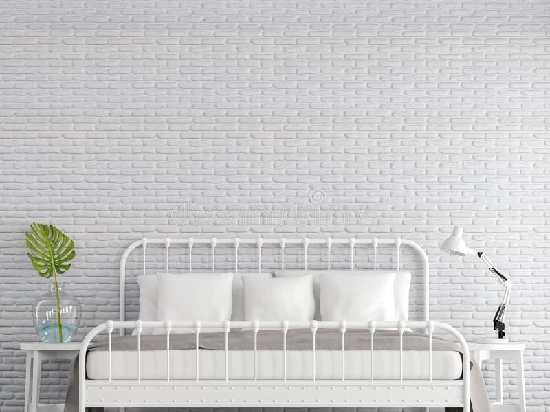 El dormitorio del vintage con la pared de ladrillo blanca 3d rinde stock de ilustración
