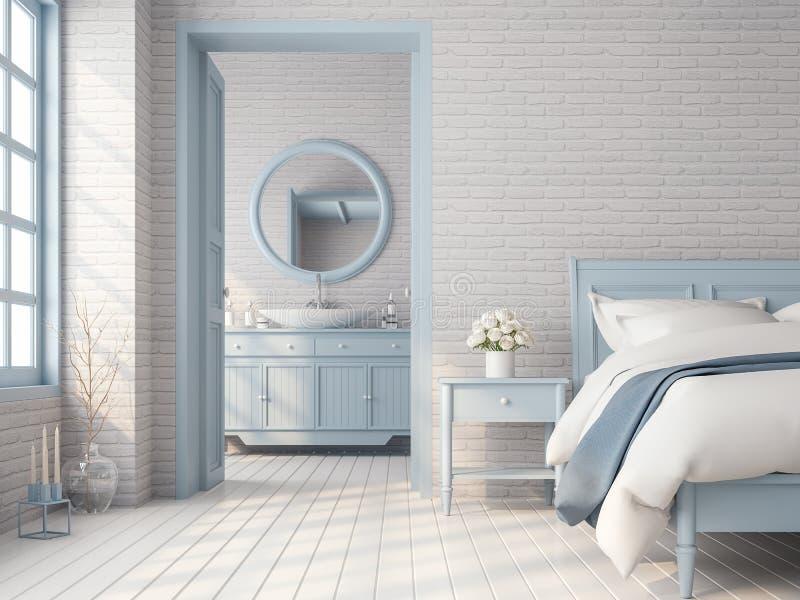 El dormitorio y el cuarto de baño 3d del vintage rinden ilustración del vector