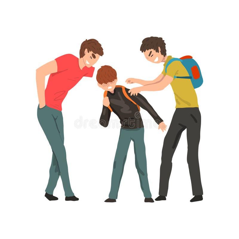 El dos más viejos imitar de los muchachos más joven, conflicto entre los niños, mofa y el tiranizar en el ejemplo del vector de l stock de ilustración