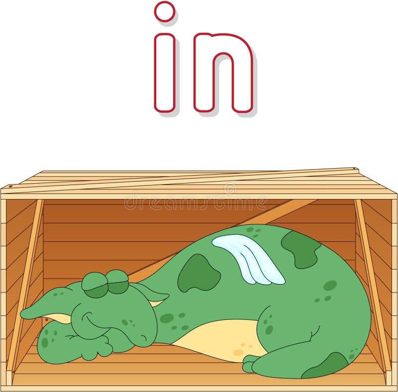 El dragón de la historieta duerme en una caja Gramática inglesa en imágenes stock de ilustración