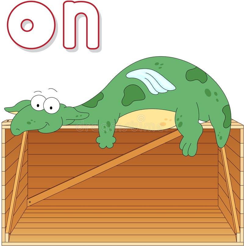 El dragón de la historieta miente en una caja Gramática inglesa en imágenes ilustración del vector
