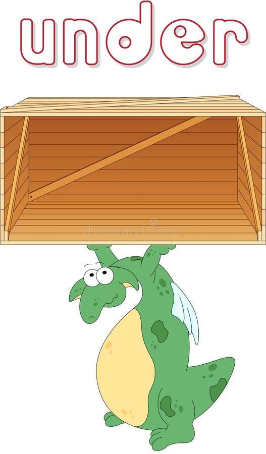 El dragón de la historieta se coloca debajo de una caja Gramática inglesa en imágenes ilustración del vector