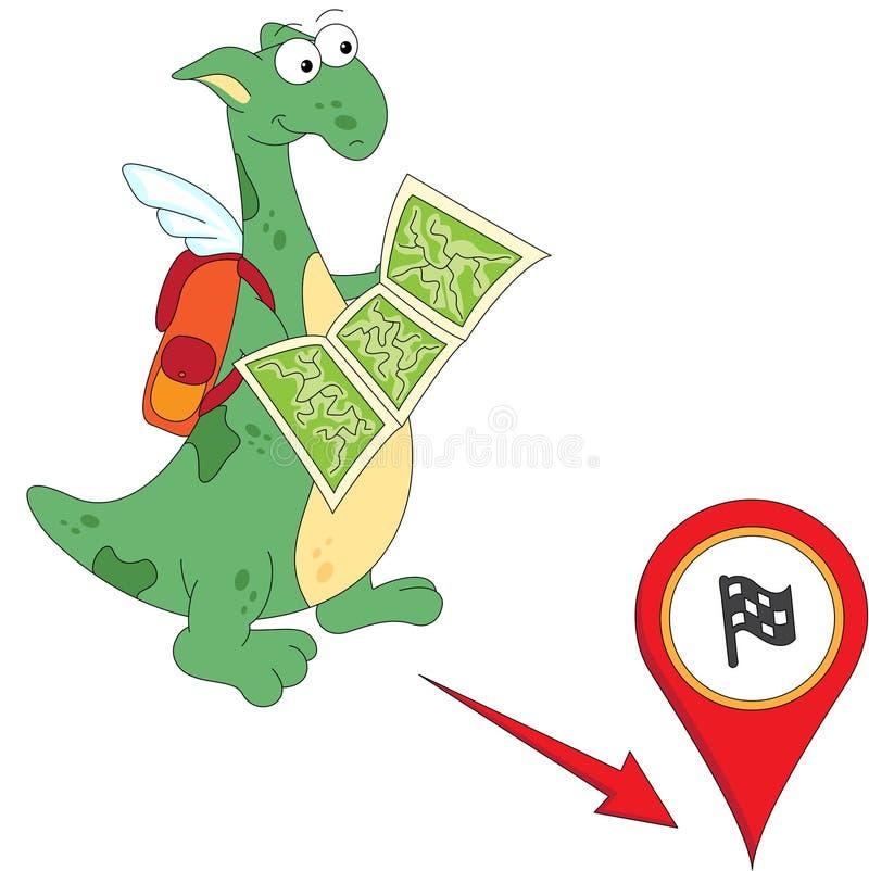 El dragón de la historieta va al final Gramática inglesa en imágenes stock de ilustración