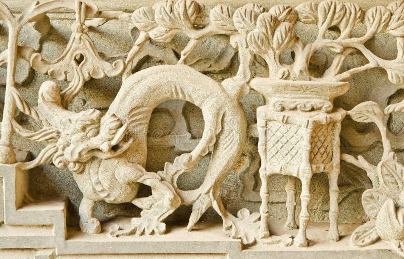 El dragón del vintage talla en templo. imágenes de archivo libres de regalías