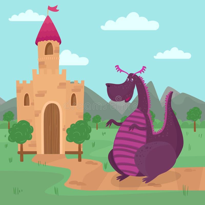 El dragón lindo que se coloca delante de un castillo, historia del cuento de hadas para los niños vector el ejemplo stock de ilustración