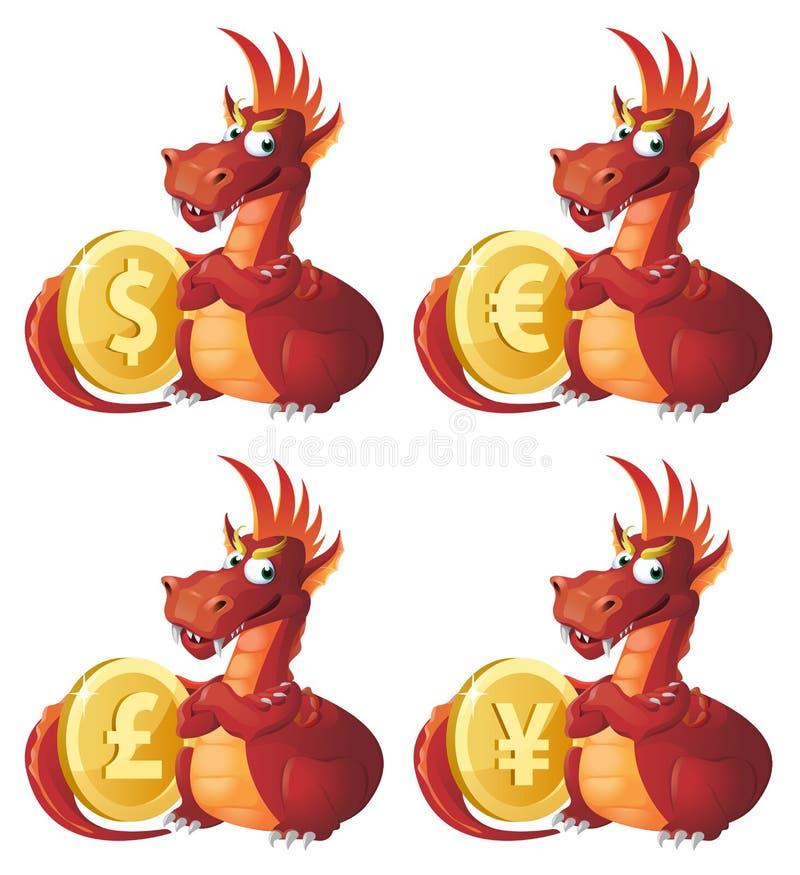 El dragón rojo guarda símbolos de diversas monedas Dólar, euro, ilustración del vector