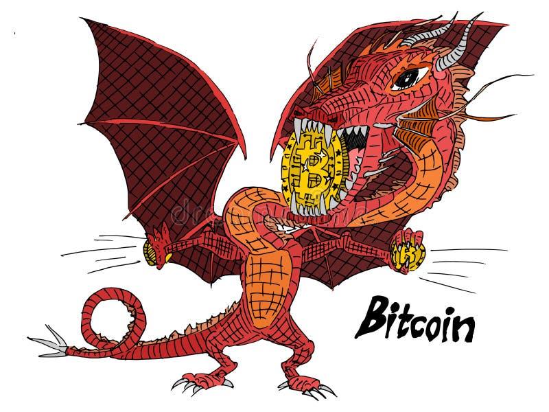 El dragón rojo lleva a cabo el bitcoin de las monedas de oro ilustración del vector