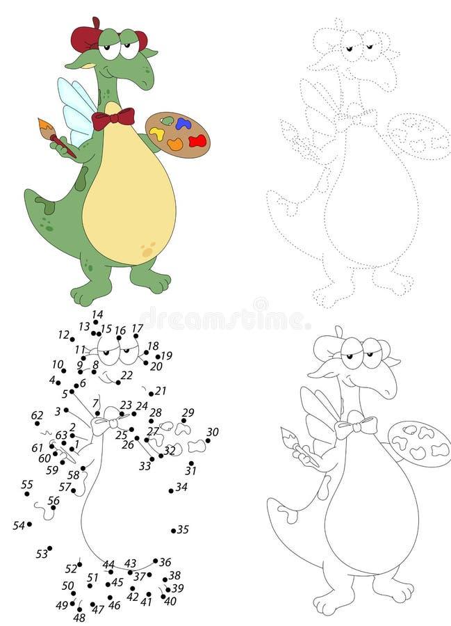 El dragón verde de la historieta sostiene un cepillo y una paleta con las pinturas Haga libre illustration