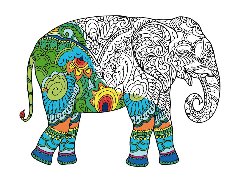 Drawing stylized elephant. Freehand sketch for adult anti stress coloring book. For adultpage with doodle and zentangle elements. With sample coloring vector illustration