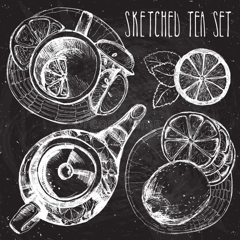 El drenaje de la mano del té fijó - la tetera, la taza y la cuchara con los limones, cales Colección en el fondo blanco stock de ilustración